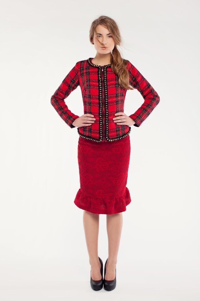 Tartan jakk; punane seelik