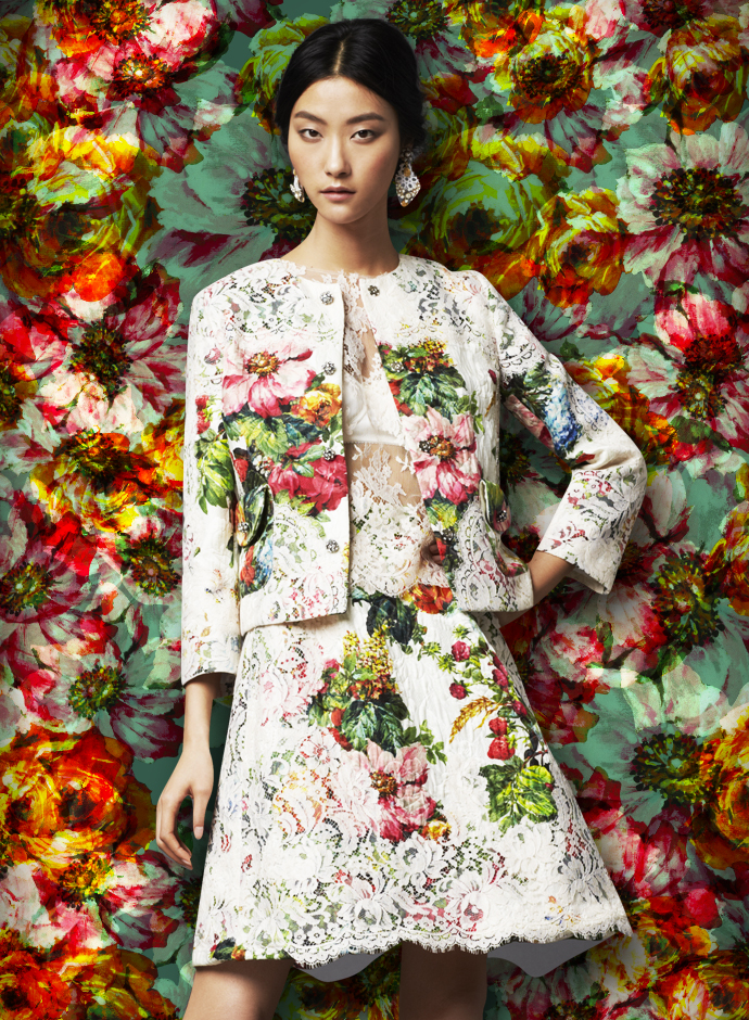 dolce-and-gabbana-fw-2014-womenswear-collection-flower-and-fruit-print-dress-printed-brocade-and-lace-suit
