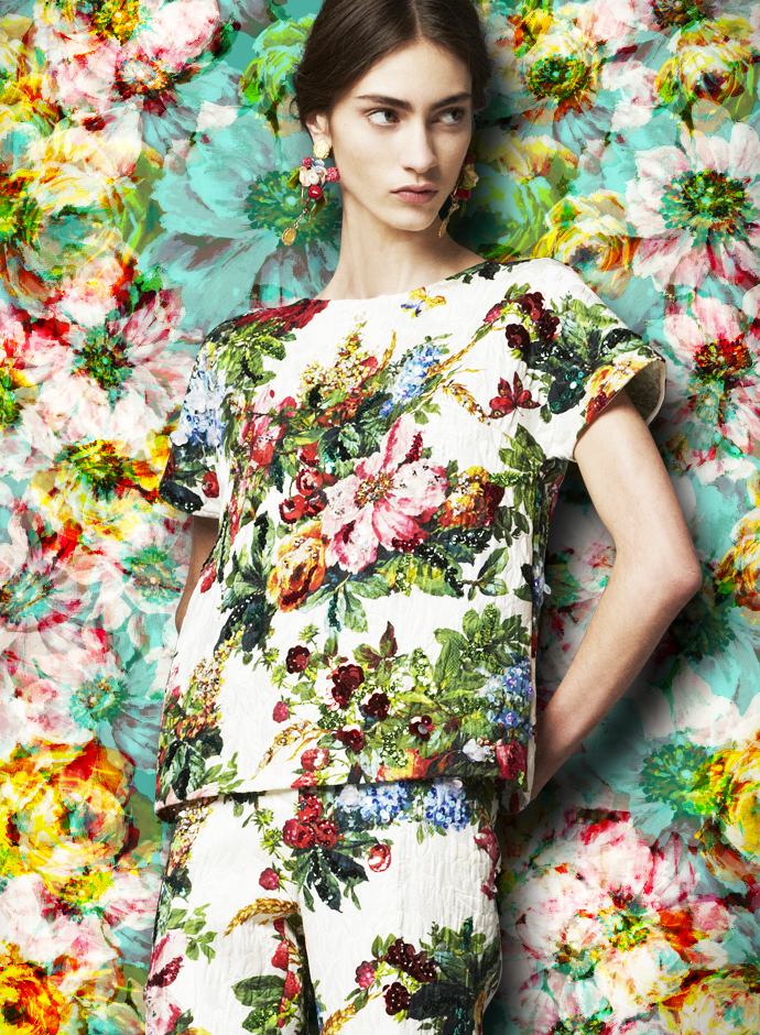 dolce-and-gabbana-fw-2014-womenswear-collection-flower-and-fruit-print-dress-printed-brocade-tunic-and-trousers